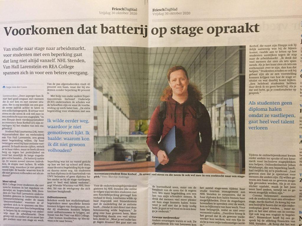 Nieuwsartikel friesch dagblad over de ondertekening van de intentieverklaring