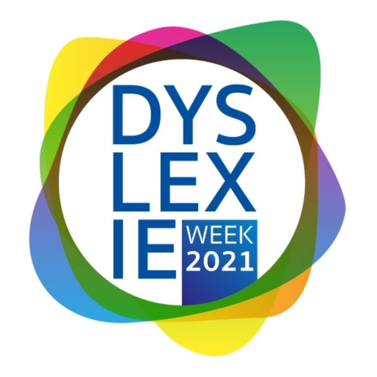 cirkel met geel, groen, blauw met tekst dyslexie week 2021
