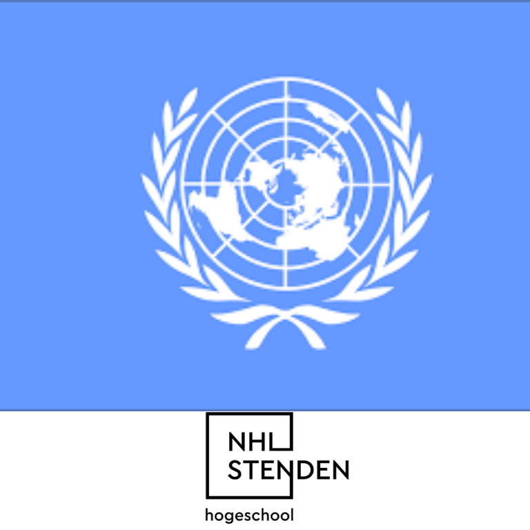 logo VN-verdrag wereldkaart en logo NHL Stenden hogeschool
