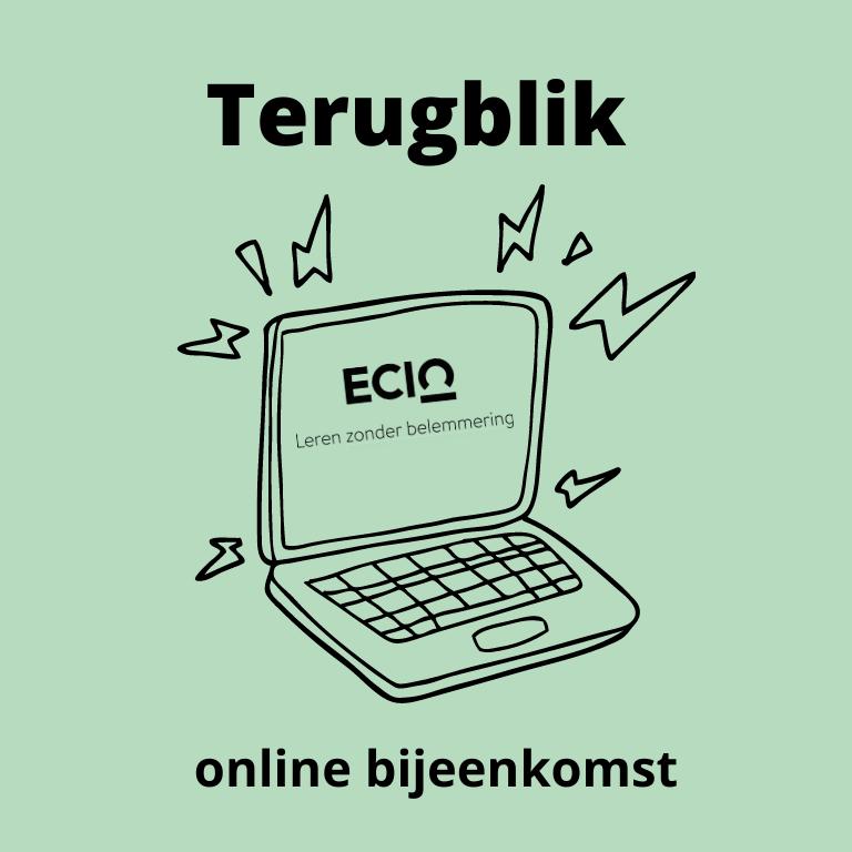 illustratie met laptop en tekst: terugblik online bijeenkomst