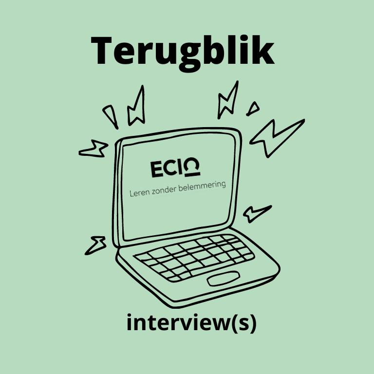 Illustratie van laptop met tekst: terugblik interview
