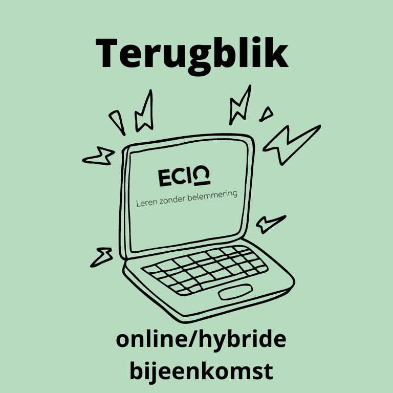 illustratie met laptop en tekst: terugblik online/hybride bijeenkomst