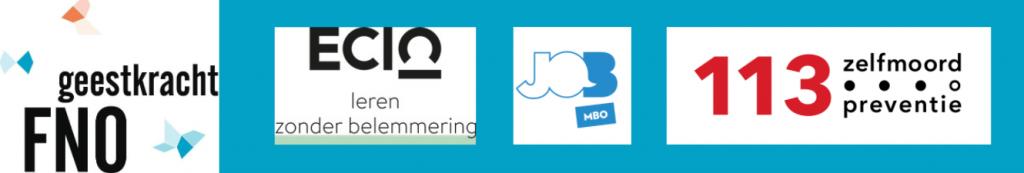 blauw kader met logo's van FNO Geestkracht, ECIO en 113 JOBmbo