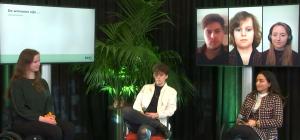 6 studenten, drie online op een beeldscherm, 3 op een stoel ervoor