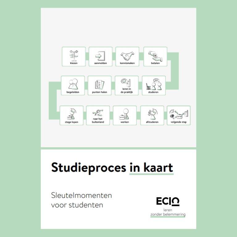 illustraties sleutelmomenten studiepoces van kiezen, aanmelden, kennismaken tot aan werken, afstuderen en volgende stap