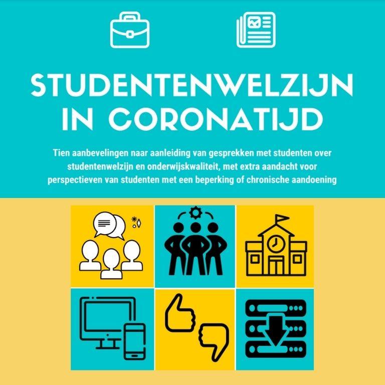 icoontjes school, thumps up, laptop met tekst 10 aanbevelingen studentenwelzijn in coronatijd