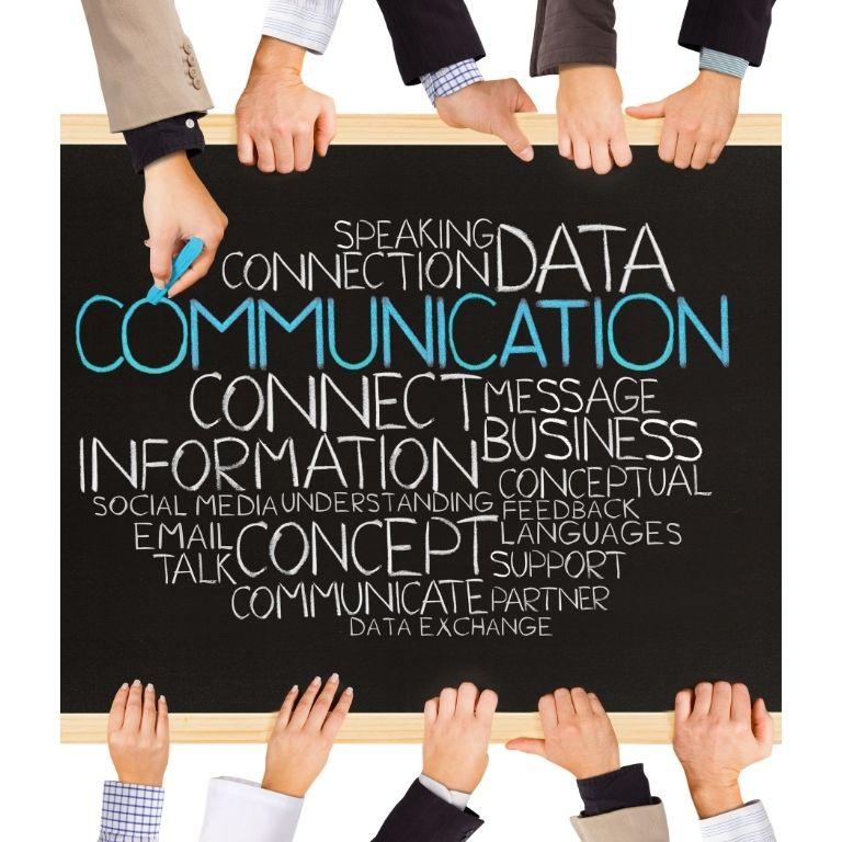 Afbeelding van een bord met verwijzingen naar communicatie