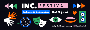 icoontjes masker, oog, pijltjes, handen en oproep INC.festival 8-10 juni 2021