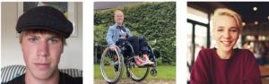 drie foto's naast elkaar: jongen met pet, meisje in rolstoel en meisje met kort blond haar met rode trui