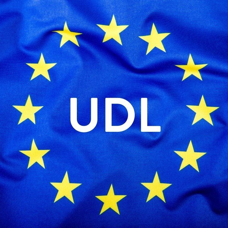 Afbeelding EU-vlag met UDL in het midden
