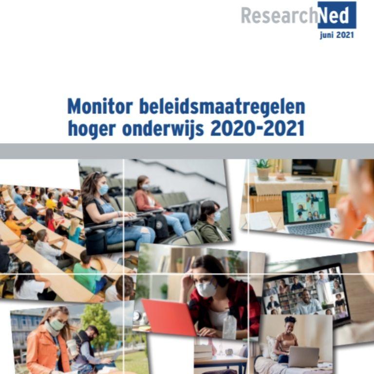 kaft Monitor beleidsmaatregelen hoger onderwijs 2020-2021 met verschillende foto's van studenten in studieomgeving