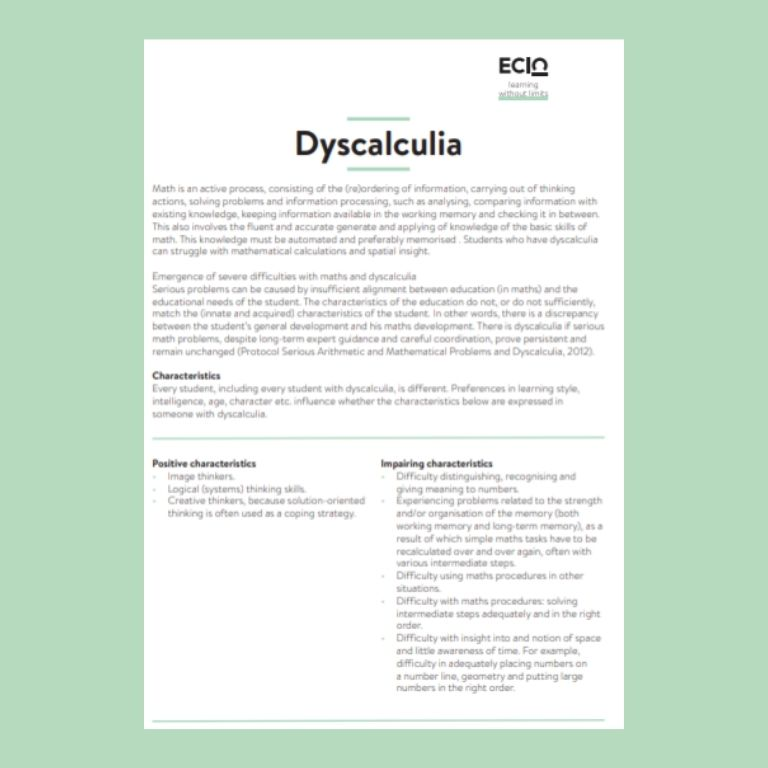 cover information card dyscalculia