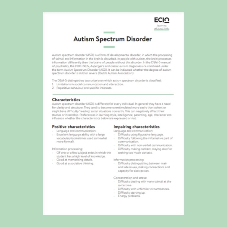 Cover information card autism