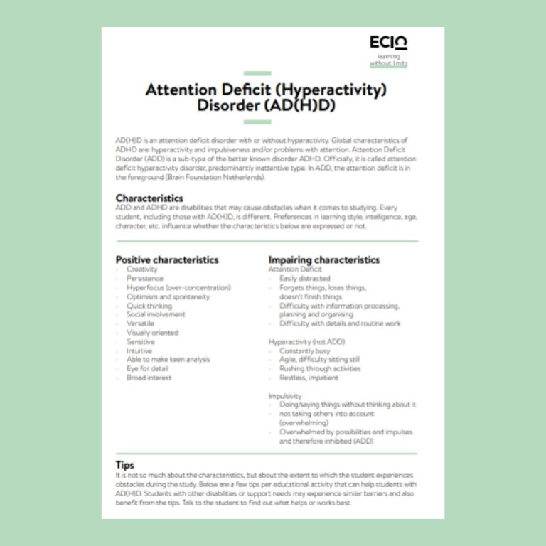 Cover information card ADHD
